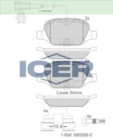 Set of Rear Delphi Lockheed Brake Pads For Alfa Romeo Mito 1.4 LP2300